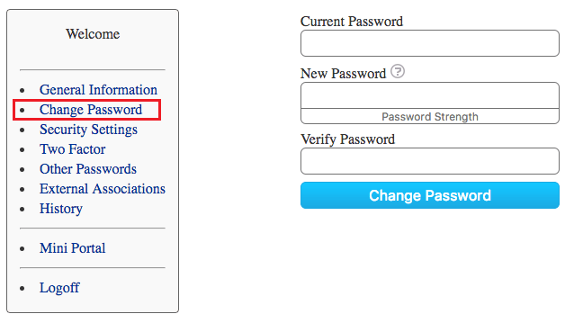 Change Password Screenshot