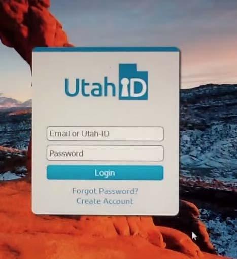 Utah ID login Screenshot