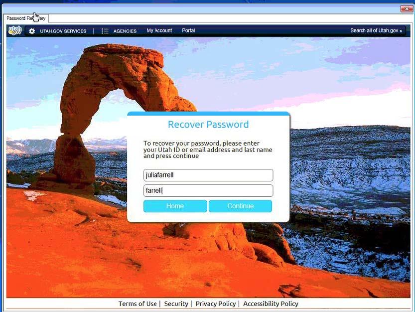 Utah ID Recover Password Screenshot