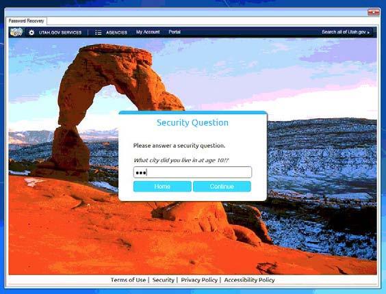 Utah ID Security Question Screenshot