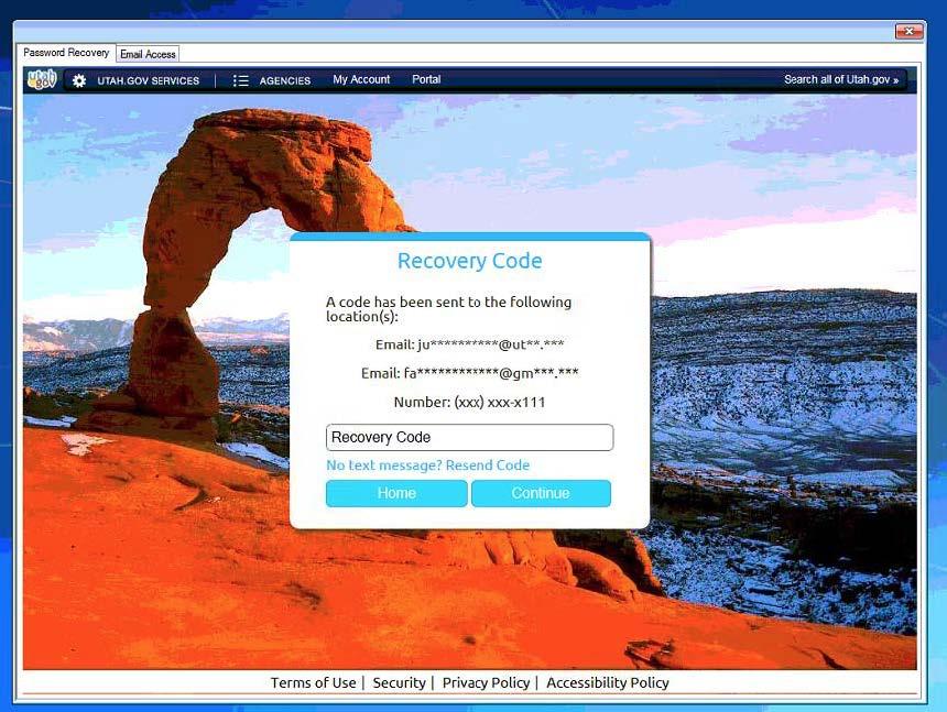 Utah ID Rcovery Code Screenshot