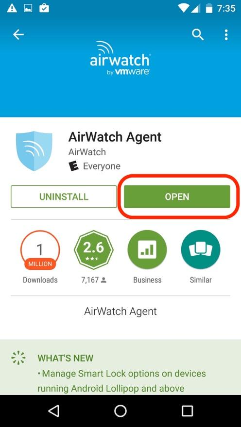 Airwatch open screen