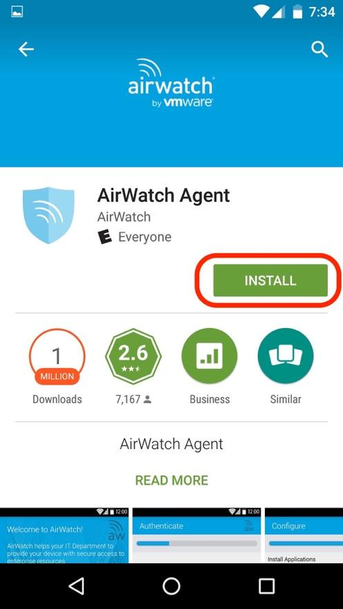 Airwatch Agent install screen