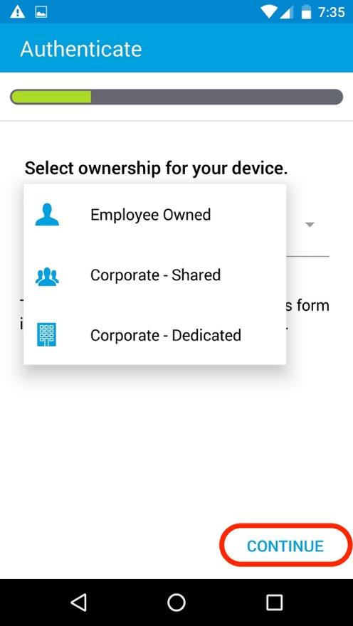 Type of Ownership Screen