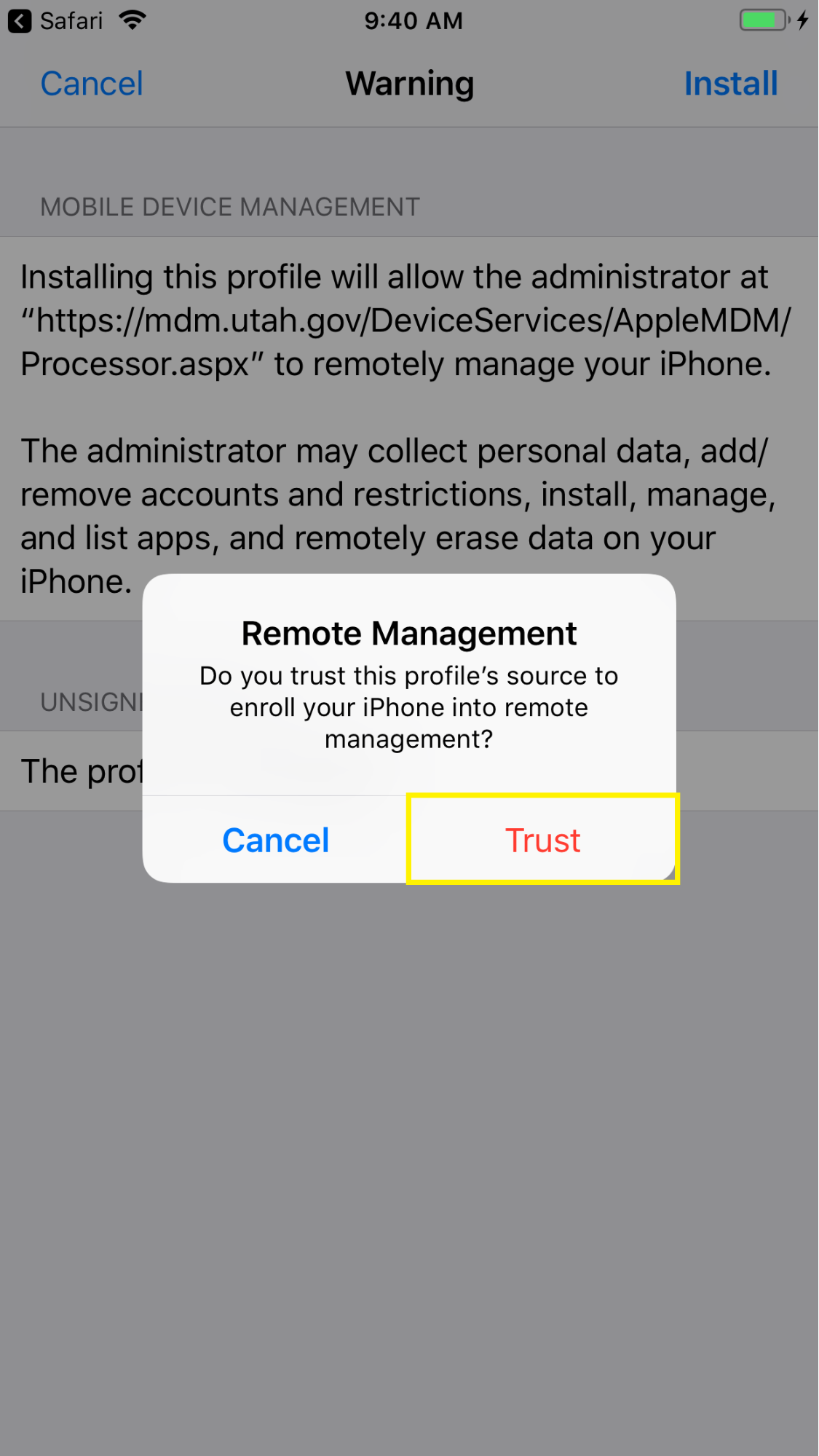 AirWatch remote management