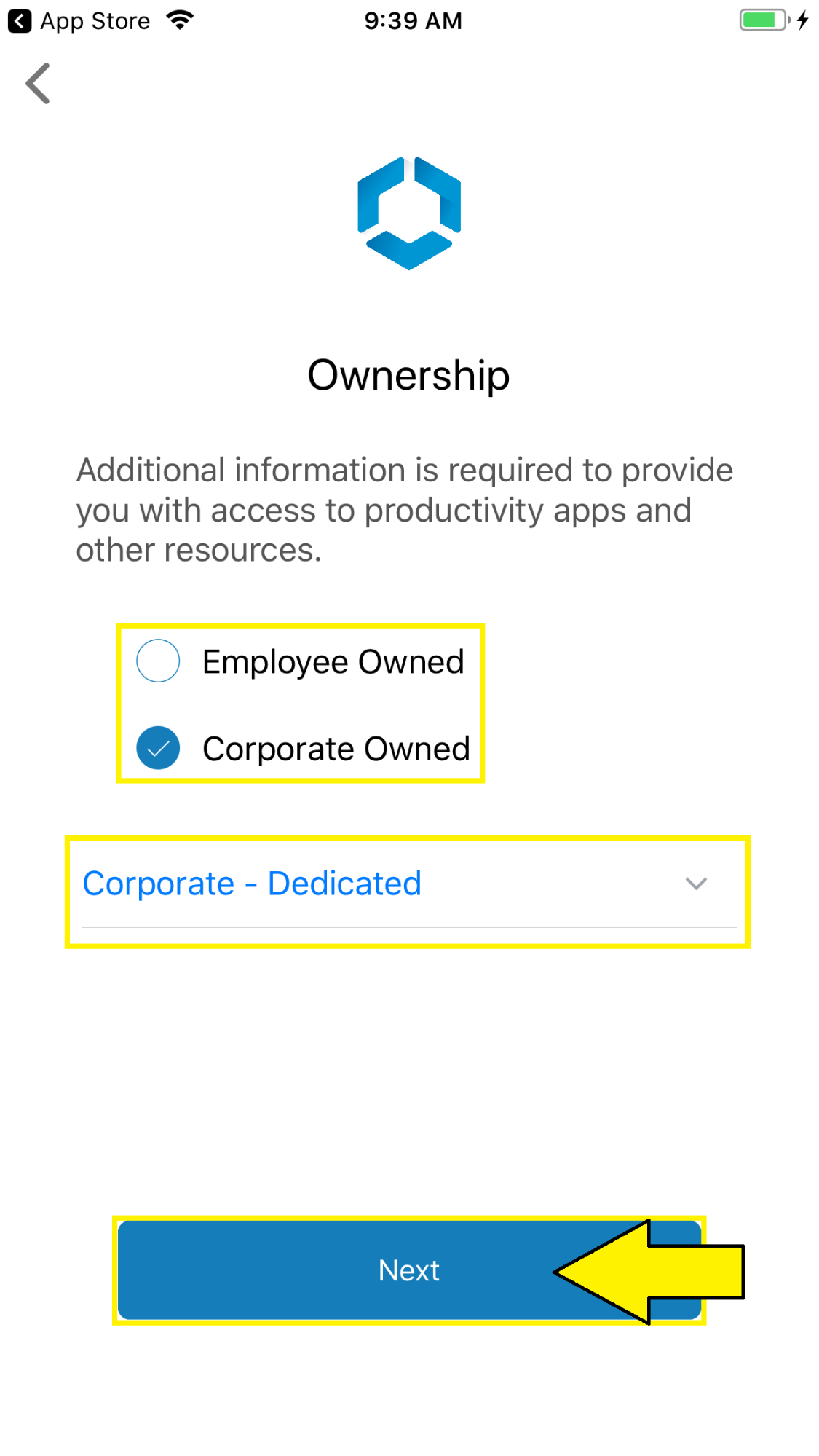 AirWatch device ownership