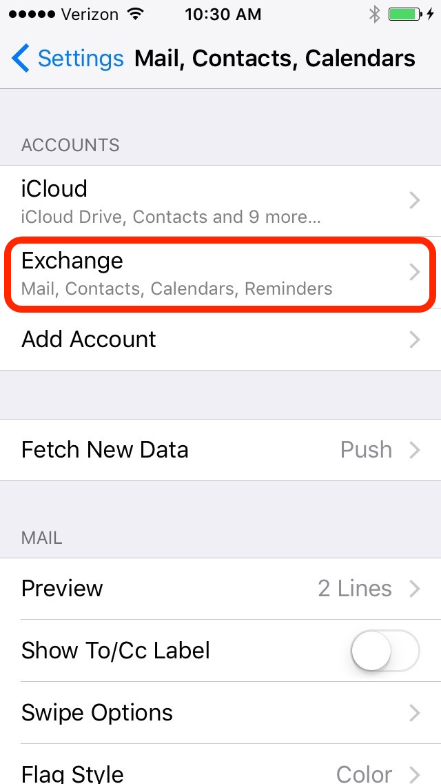 iOS Mail, Contacts, Calendars, and Reminders Screenshot