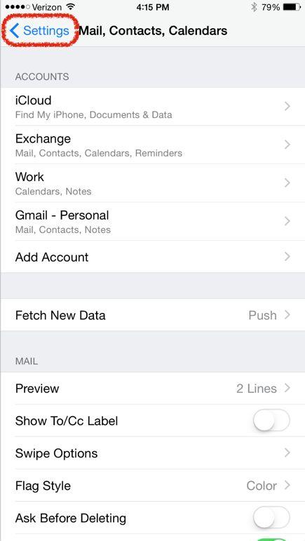 iOS Mail, Contacts, Calendars Screenshot