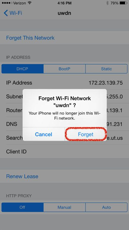 iOS Forget this Network prompt Screenshot