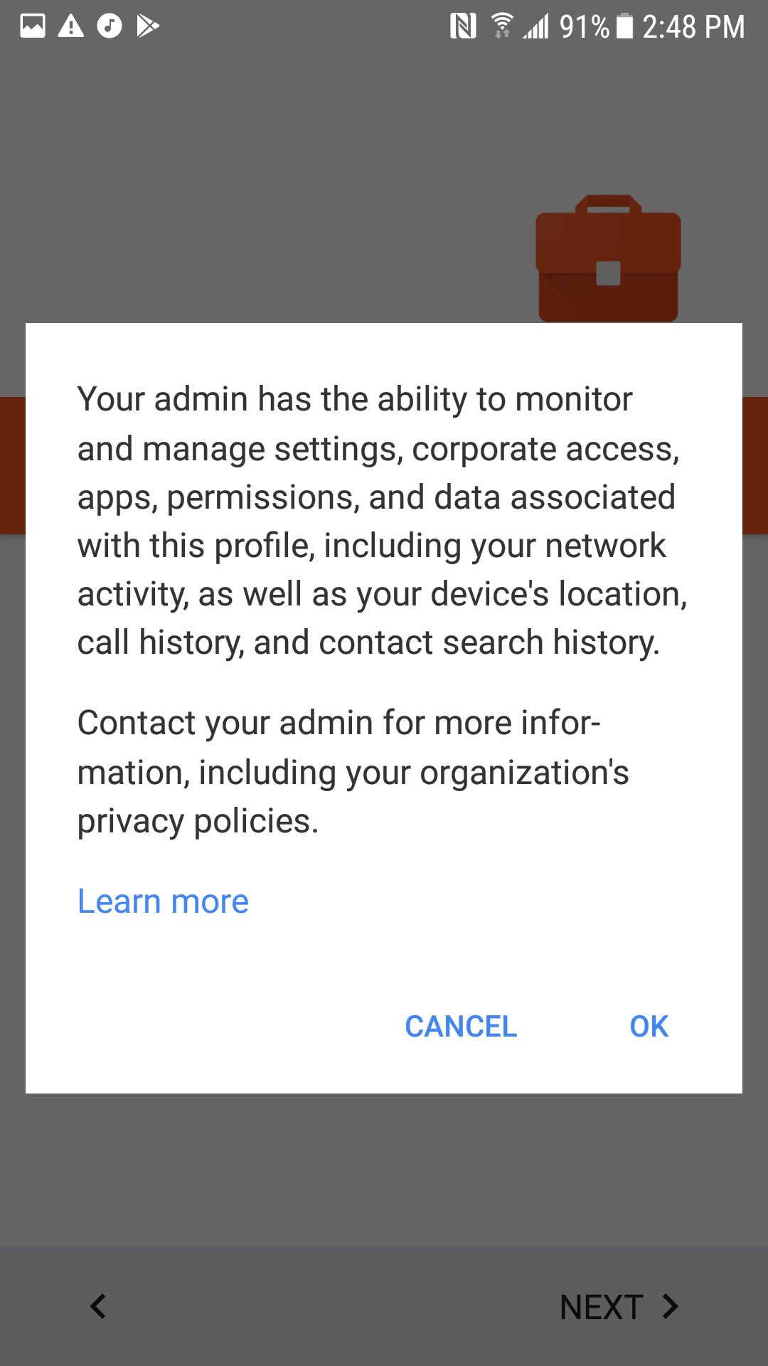 Android Settings More Screenshot