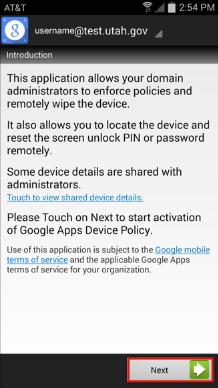 Google Device App Setup Screenshot
