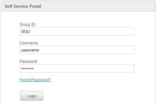 Self Service Portal Screenshot