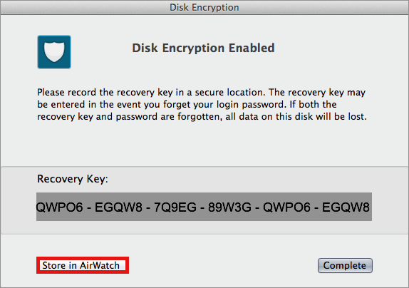 Disk Encryption Enabled Screenshot