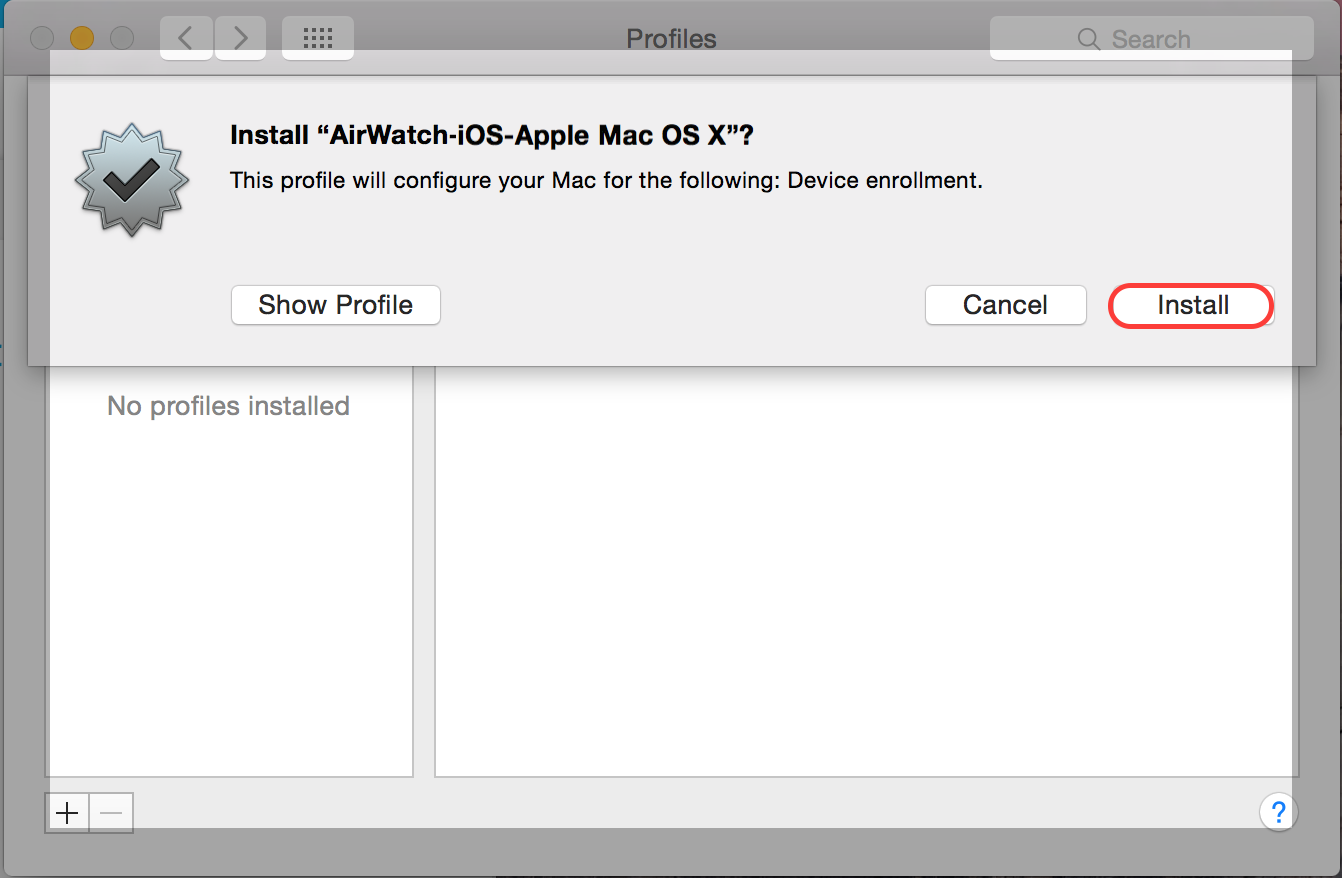AirWatch Install Prompt Screenshot