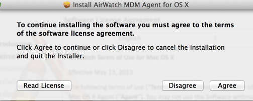 Install AirWatch Agreement Screenshot