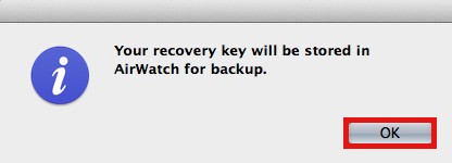 Recovery Key Stored for Backup Screenshot