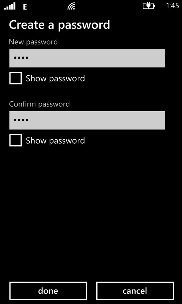 Windows Create Password Screenshot