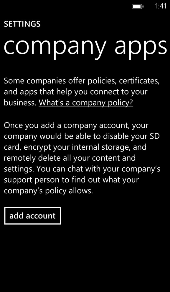 Windows Settings Company Apps Screenshot