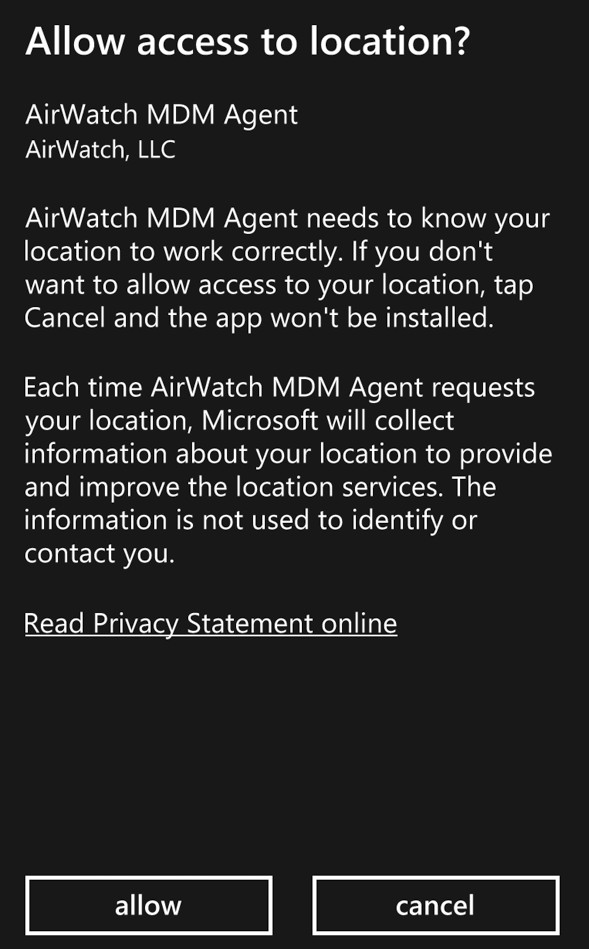 Windows Store AirWatch MDM Install Screenshot