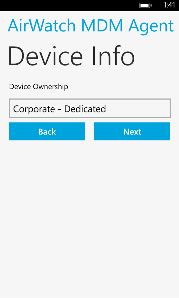 AirWatch MDM Device Info Screenshot