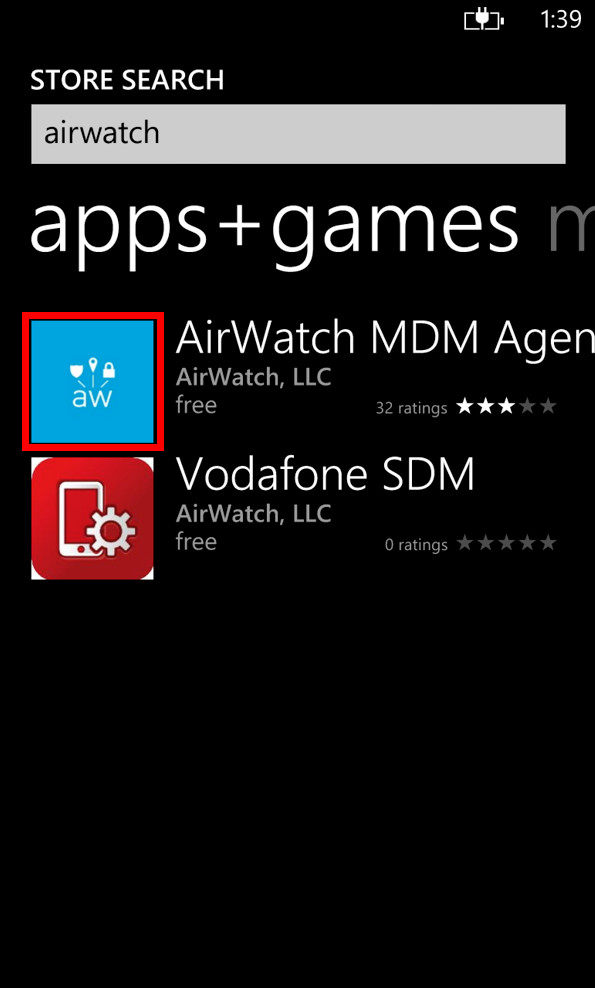 Windows Store AirWatch MDM Screenshot