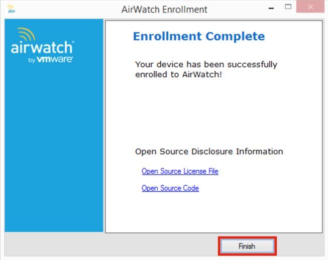 AirWatch Enrollment Complete Screenshot
