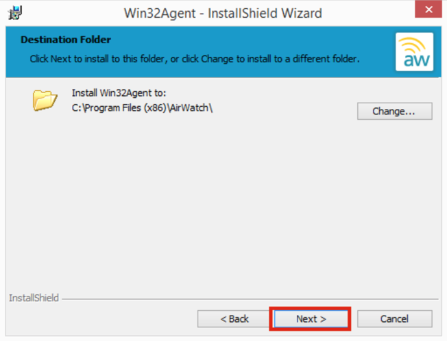 Win32Agent Install Screenshot