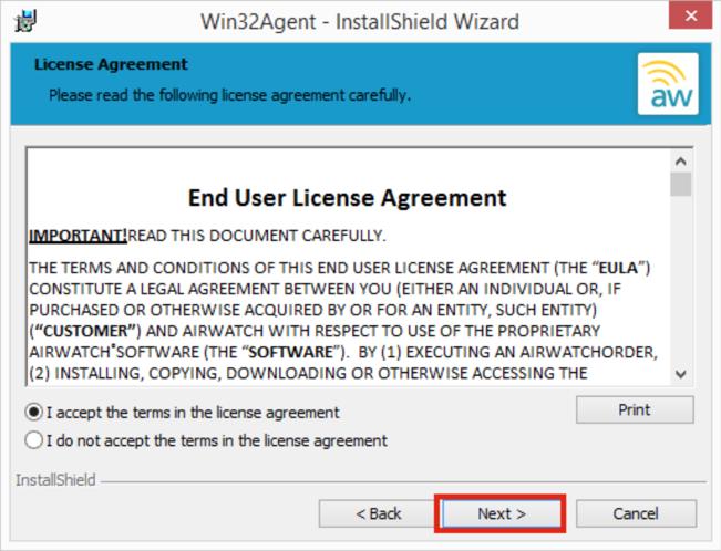 Win32Agent User Agreement Screenshot