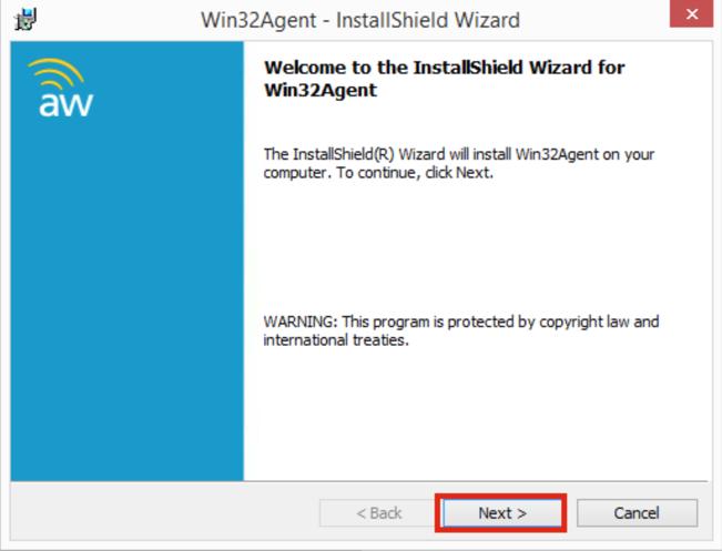 Win32Agent Install Wizard Screenshot