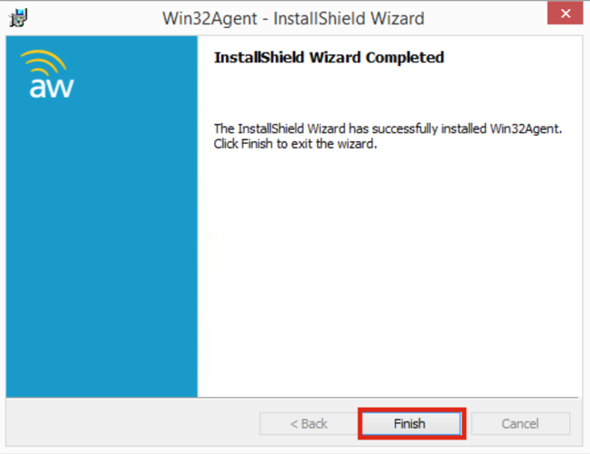 Win32Agent Install Completed Screenshot