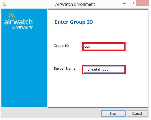 AirWatch Enrollment Screenshot
