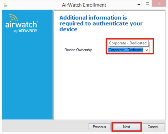 AirWatch Additonal Information Screenshot