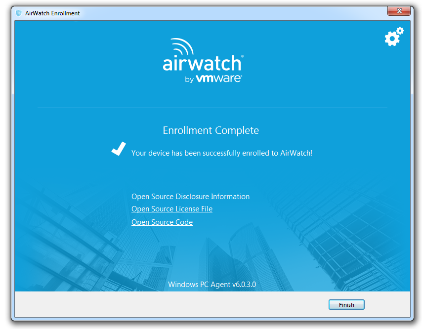 AirWatch Enrollment Complete Screenshot