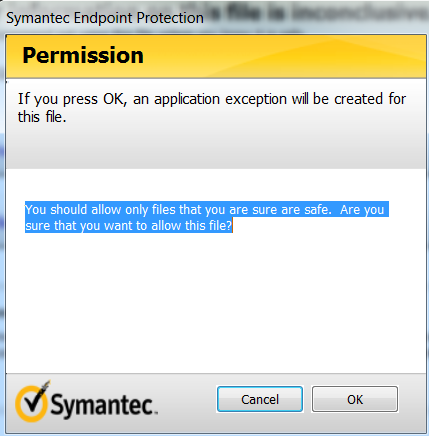 Symantec Permission Screenshot