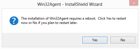 Win32Agent Reboot Prompt Screenshot