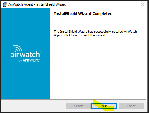 Install AirWatch (MDM), BitLocker, and Recovery Key for