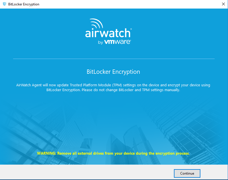Install AirWatch (MDM), BitLocker, and Recovery Key for Windows 10