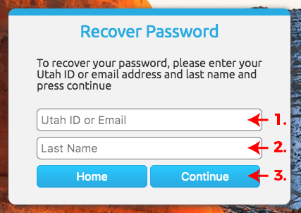 Password Recovery Information Screenshot