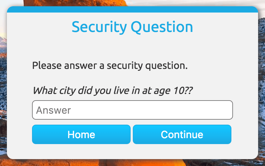 Security Question Screenshot
