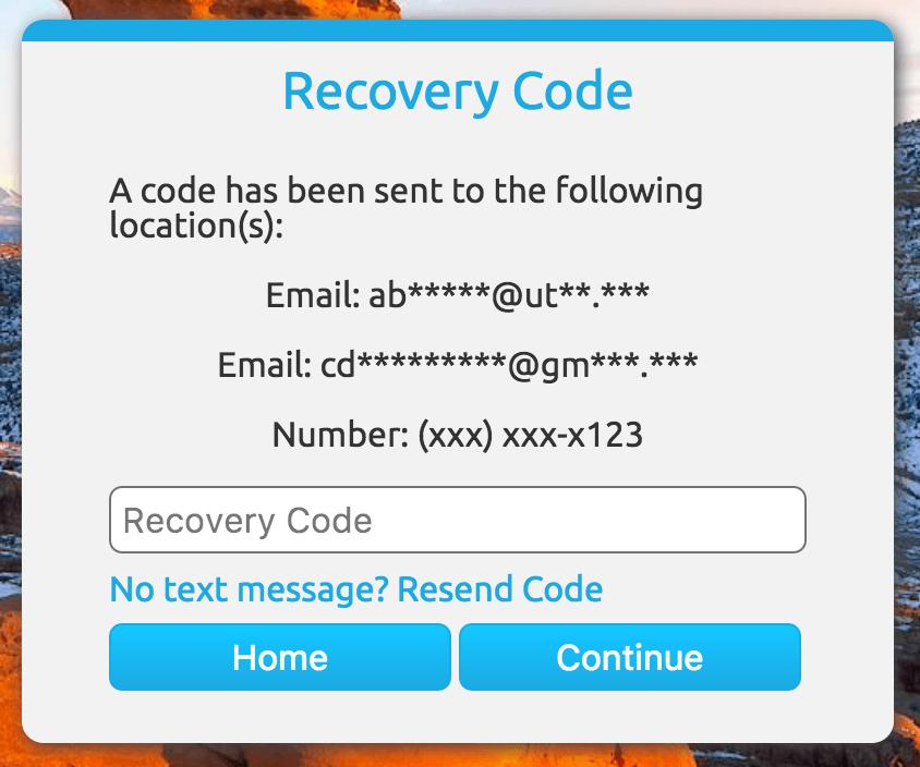 Recovery Code Screenshot