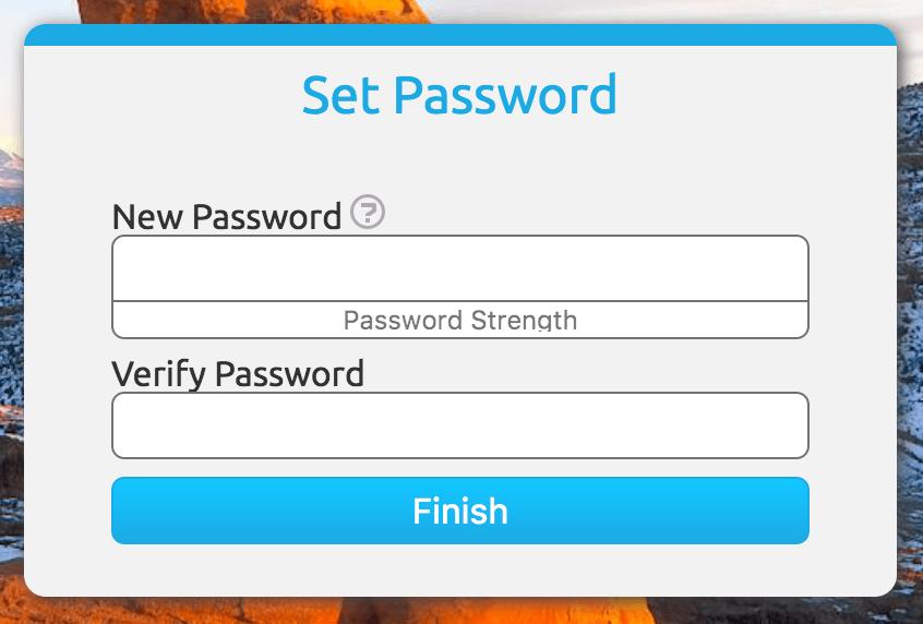 New Password Entry Screenshot